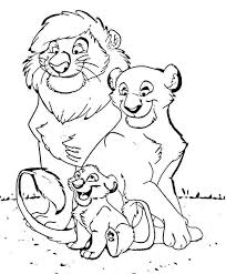 Happy Family Free Coloring Page Animals Disney Kids Lion King