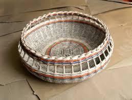 Make Rolled Newspaper Wicker Baskets