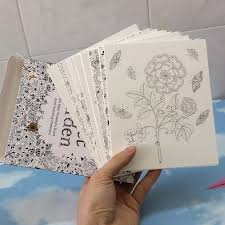 English Edition Secret Garden 30 Sheets Cards Coloring Books For Adults With Envelope Tintage Postcards DIY Colouring