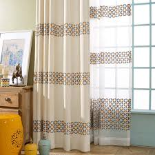 Geometric Pattern Sheer Curtains by Unique Beige Geometric Modern Embroidery Curtains