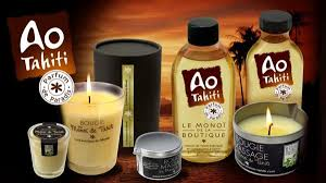 huile parfumee pour bougie bougie parfumée au monoi ao tahiti coffret cadeau la boutique du