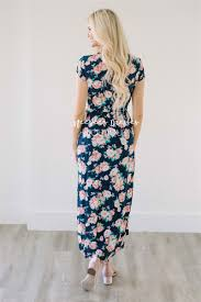 navy coral floral modest dress modest bridesmaids dresses