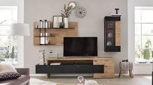 interliving wohnzimmer serie 2104 wohnkombination anthrazitfarbene lackoberflächen balkeneiche dreiteilig ca 276 c