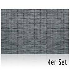 Table Mat Placemat ELEGANCE Grey Strips Woven 4 Pieces Set From Synthetics 45x30 Cm Washable Dining