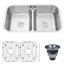 Overstock Stainless Steel Kitchen Sinks by Ruvati Rvm4350 Parma 16 Gauge Steel Low Divide 32 Inch Undermount