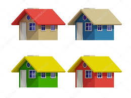 100 Four Houses Set Of Four Houses With Color Changes Stock Photo Teerawit 75541507