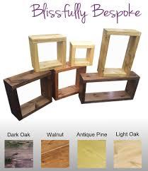 rustic chunky wooden floating cube book case shelves shelf cd dvd