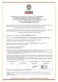 ce bureau veritas bo myung metal co ltd certificates