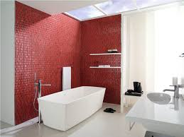 Long Narrow Bathroom Ideas by Fancy Red Accents Mosaic Tiles Wall Feat Comfortable Long Narrow