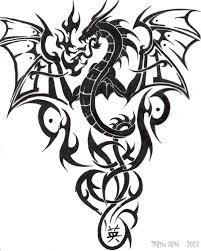 Amazing Tribal Dragon Tattoo Design