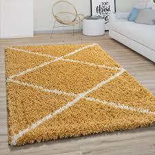 hochflor teppich wohnzimmer shaggy skandinavisches rauten muster modern in gelb