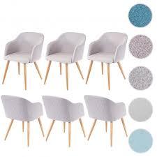 6x esszimmerstuhl hwc d71 stuhl küchenstuhl retro design armlehnen stoff textil hellgrau grau
