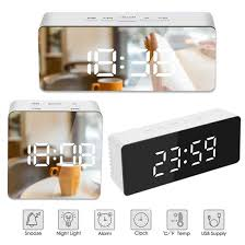 led spiegel wecker mit dimmer snooze temperatur funktion für
