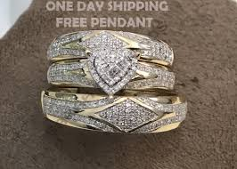 Wedding 14K Solid Gold Over 2 5CT Diamond His & Her 3 pcs Trio Ring