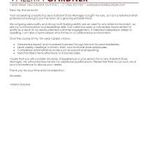 Cover Letter For Store Manager Retail Job Example Assistant