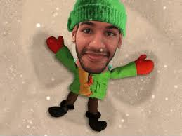 A GIF Showing An Animated Character Making Snow Angel My Face Has Been Superimposed