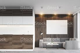 dunkles holz wohnzimmer und küche stockfoto und mehr bilder bilderrahmen
