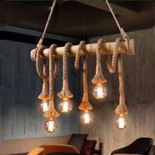 Vintage Hemp Rope Pendant Lamp Wicker Hanging Lights Living Room Chandeliers