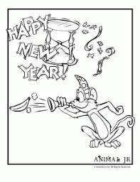 Monkey New Years Coloring Page