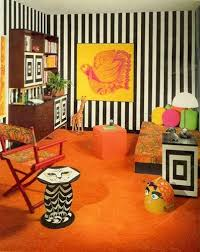 Mewnette Justrebellion Bedroom In Orange From Seventeen Magazine October 1967 Cat End Table