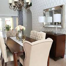 Dining Room Accent Wall A Stenciled In Cream And Metallic Silver Using