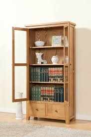 Simple Traditional Brown Wooden Glass Door Display Cabinets