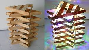 DIY ROOM DECOR How To Make A Popsicle Stick Lamp Easy Crafts Ideas At Home