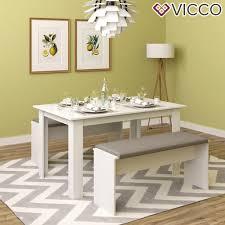 vicco tischgruppe weiß sitzgruppe essgruppe holztisch esstisch holz tisch