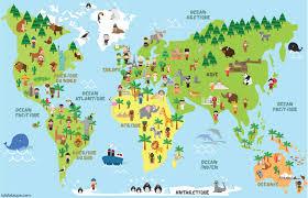 Carte Du Monde Animaux Monuments Et Enfants Des Différents Tout