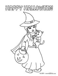 Witch On Her Broom Happy Halloween And Cat Coloring Page