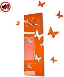 flexistyle große moderne wanduhr schmetterling orange vertikal querformat 60 x 20 cm 3d diy wohnzimmer schlafzimmer kinderzimmer
