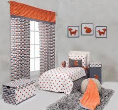 Bacati Crib Bedding by Bacati Playful Fox Orange Grey Print 2 Pack Crib Fitted Sheets