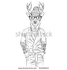 Hipster Deer Dressed Up In Shirt Furry Art Illustration Fashion Animals
