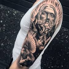 Cool Male Jesus And Dove Half Sleeve Tattoo Design Ideas