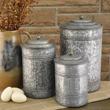 Rustic Kitchen Canister Sets galvanized canisters set 3 piper classics