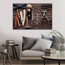Amazoncom Barber Tools Canvas Wall Art Ready To Hang Large