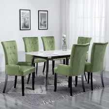 vidaxl esszimmerstuhl mit armlehnen 6 stk hellgrün samt gitoparts