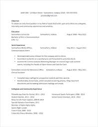 Examples Of College Resume Basic For Students As Example