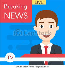 Vector Illustration Of Smiling News Journalist Anchorman