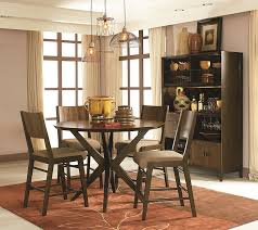 5 Pieces Vintage Pub Style Dining Room Sets Design For Small Rustic Spaces With Round Dark Wood Table And Chairs Light Brown Fabric
