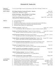 Dietitian Internship Resume