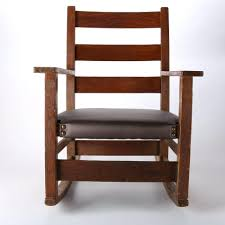 Stickley Mission Style Rocking Chair Antique Arts Crafts Oak ...
