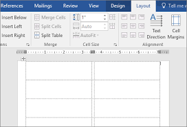 A Page Of Blank Labels In Word 2016