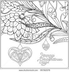 Happy Valentine Day Card With Decorative Love Heart And Flowers Coloring Book For Adult