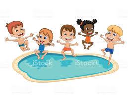 Happy Kids Having Fun At The Simming Pool Stock Vector Art