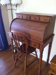 Ethan Allen Dark Pine Roll Top Desk by Vintage Tell City Maple Roll Top Desk And Farmhouse Chair Andover
