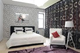 Fashionable Modern Bedroom Design Black White Purple Colors