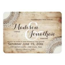 Rustic Wood Vintage Lace Wedding Invitations