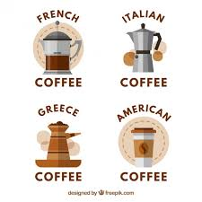 Collection Of Stickers With Different Types Coffee Maker Free Vector