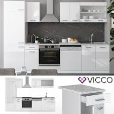 vicco küche r line 300 cm küchenzeile küchenblock einbauküche weiss hochglanz